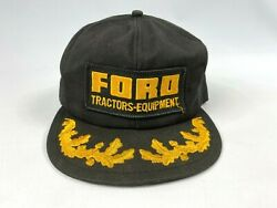 Vintage K Brand Ford Tractors Equipment Snapback Hat Patch W/ Gold Leaf Bill Usa