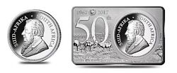 2017 South Africa 3 Oz Silver 50th Anniv Krugerrand Coin And Bar Set W/coa And Case