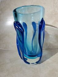 Murano Glass Vase With Blue Lillyand039s. 10 Tall X 5 Wide
