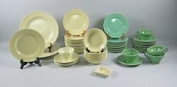 54pc Lot Of Franciscan El Patio-pale Yellow And Apple Green Dinnerware And Serving