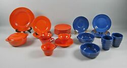 23pc Lot Of Franciscan El Patio-orange And Cobalt Blue Dinnerware And Serving Pieces
