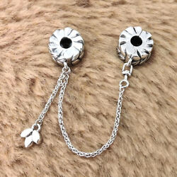 Authentic 925 Sterling Silver Circle Clip Safety Chain Charm Fit Moment Bracelet