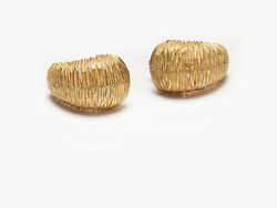 Vintage And Co. Textured 18k Yellow Gold Earrings