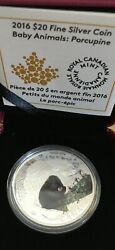 2016 Canadian Mint 20 Baby Animals Porcupine