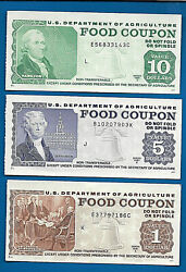 Food Stamp Coupon 1981 A And B Usda Currency Paper 3 Coupons Welfare Scrip Token