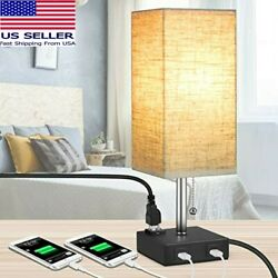 MOICO Bedside Modern Table Nightstand Lamp w 2 USB Charging Ports amp; 1 AC Outlet