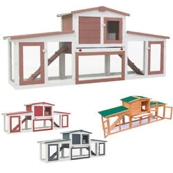80.3quot; Outdoor Large Rabbit Hutch Wooden Chicken Coop Small Animal House Pet Cage
