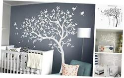 Large Tree Wall Decals Nursery Wall Tree Stickers with Birds Stunning White