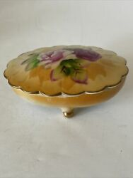 Antique Lefton China Trinket Dish 5206 Scalloped Hand Painted Roses Gold Trim