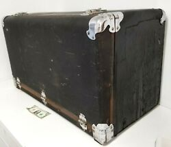 Antique 1930s Packard Rare Leather Rear Trunk Drop Front W Chrome As Found