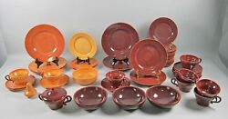 49pc Lot Of Franciscan El Patio-glossy Redwood And Golden Glow Dinnerware++