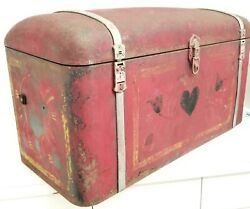 1930and039s Antique Cadillac Trunk Classic Rear Car Large Trunk Original Folk Paint