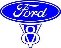 Vintage Old Style Ford V8 Decal 5.6w X 4.5h In Blue Or Red
