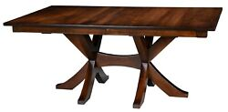 Amish Rectangle Transitional Double Pedestal Dining Table Solid Wood X Base
