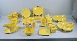 42pc Lot Of Franciscan El Patio-glossy Bright Yellow Dinnerware And Serving Pieces