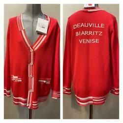 2019 Auth Long Sleeve Sweater Red Cardigan Knit 40 Eu Rare