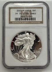 2000-p Proof American Silver Eagle One Dollar Coin Ngc Pf70 Ultra Cameo