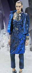 12a Royal Blue Suit W Strapless Dress And Jacket With Hood Rare Size 38