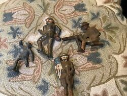 Vintage Military Toy Soldiers Army Men Lead/cast Iron/metal Lot Of 4