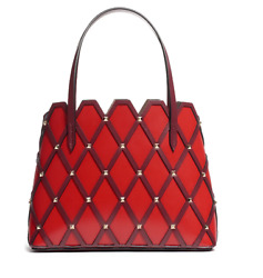 Nwt Valentino Garavani Beehive Small Studded Red Leather Tote Msrp 2245