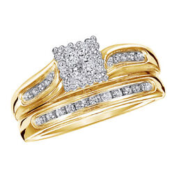 1/4 Ct Round Real Diamond 14k Yellow Gold Square Cluster Bridal Engagement Ring