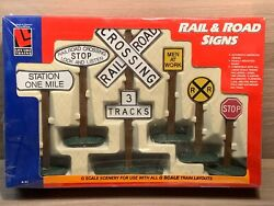 Life-like 1973 G Scale Rail And Road Signs - Scenery For Layout