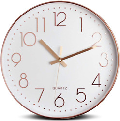 Tebery 12 Inch Silent Modern Wall Clock Battery Operated Decorative Wall Clocks