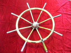 Ship Steering Wheel Original Vintage Antique Brass Ship Wheel Boat Steering