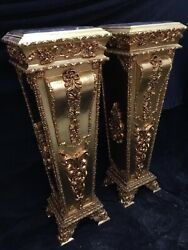French Louis Xvi Wooden Pedestal/colums In Gold With Marble Top