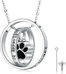 925 Sterling Silver Dog Pet Paw Charm Urn Necklace For Ashes Cremation Jewelry