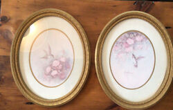 Homco Home Interior 2 Gold Oval Frame Humming Bird Pictures Margie Morrow