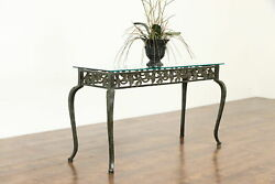 Wrought Iron Vintage Hall Or Sofa Table, Grapevine Motif, Beveled Glass 37265
