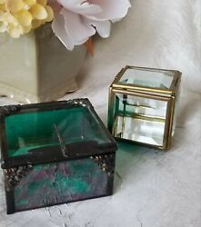 Artisan Stained Glass Trinket Box Dragonfly Clasp And Small Beveled Glass Box