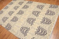 6' X 9' Hand Knotted 100 Wool Ikat Design Oriental Area Rug Aor8607 6x9 Beige
