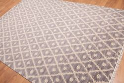 6' X 9' Hand Knotted Ikat Design 100 Wool Area Rug Aor8542 6x9 Gray