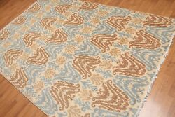 6' X 9' Ikat Design Area Rug Hand Knotted 100 Wool Aor8610 Beige 6x9