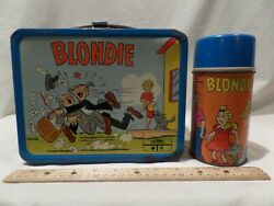 Rare Vintage 1969 Metal Blonde Lunch Box With Matching Thermos By King Seeley