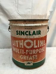 Vtg Sinclair Grease Oil Can 5 Gallon Wood Handle 1950s Garage Gas Oil