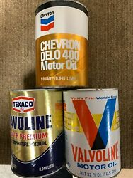 Rare Group Of Vintage Oil Cans Drained Chevron Delo Texaco Havoline And Valvoline