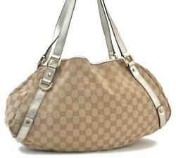 Authentic GUCCI Abbey Shoulder Tote Bag Canvas Leather Brown C4118 $182.60