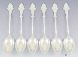 Great Set 6 Gorham Sterling Silver Louis Xiv Soup / Serving / Table Spoons