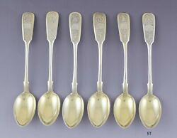 6 Antique 1879 Russian .875 Silver Hand Engraved Gilt Spoons