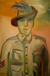 Auguste Blackman The Young Sergeant - Big Original Signed Oil Painting Anzac