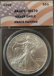 1998 Anacs Ms70 American Silver Eagle Dolllar S1 - American Flag Label