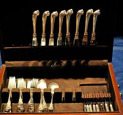 Grand Colonial Sterling Flatware Set For 8 With Rare Pistol Grip Knives,