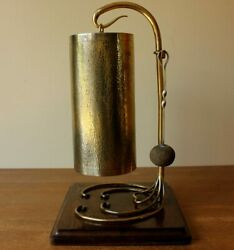 Arts And Crafts Dinner Table Gong. Antique Hammered Brass And English Oak Bell Chime