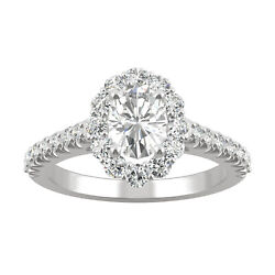 Moissanite By Charles And Colvard 7x5mm Oval Halo Engagement Ring 1.54cttw Dew