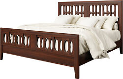 Amish Geometric Modern Panel Bed Solid Wood King Queen Meridian