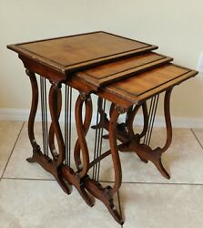 Antique/vtg Set Solid Mahogany Wood And Brass Harp Lyre Nesting Tables For Repair