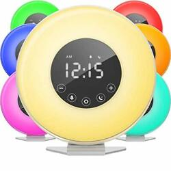 hOmeLabs Sunrise Alarm Clock Digital LED Clock with 6 Color Switch and FM R...